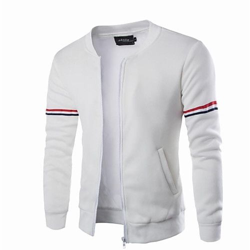 Men's Stand Collar Spring Jacket Regular Solid Colored Daily