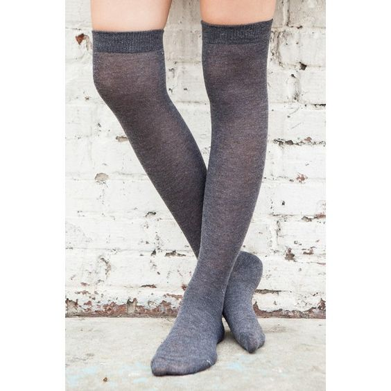 Knee High Grey Socks ($10) ❤ liked on Polyvore featuring intimates, hosiery, socks, accessories, grey over the knee socks, knee high socks, grey knee high socks, over knee socks and over the knee socks