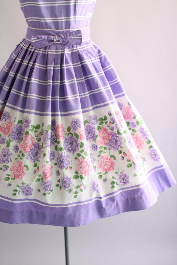 Vintage 1950s Dress / 50s Cotton Dress / Purple and White Floral Border Print Dress w/ Bow Belt S/M