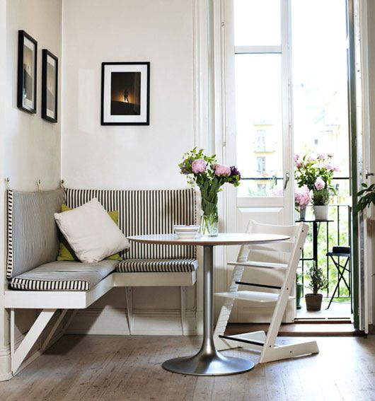 small bench seat.  Family Living {black and white scandinavian eclectic vintage modern banquette / breakfast nook} by recent settlers, via Flickr