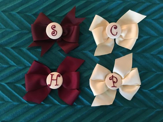A personal favorite from my Etsy shop https://www.etsy.com/listing/464572641/monogrammed-button-hair-bow-45-grosgrain