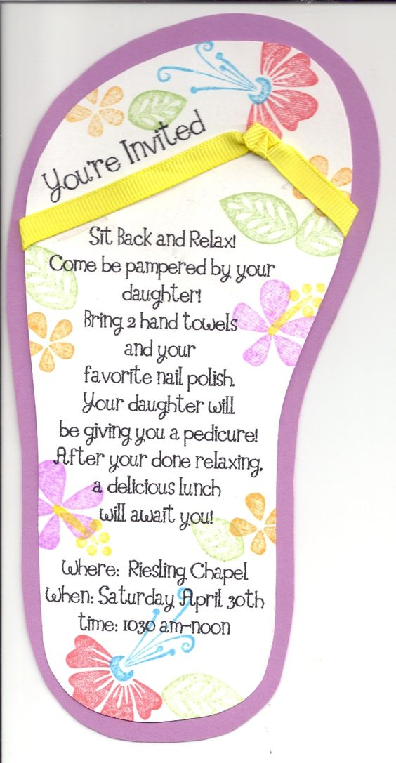 Spa day invitation party random ideas pinterest for Mother and daughter spa weekend