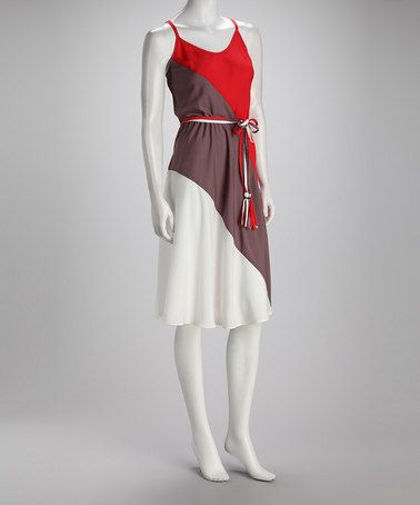 Take a look at this MSK Red & Ivory Color Block Dress by MSK & Beestango on #zulily today!