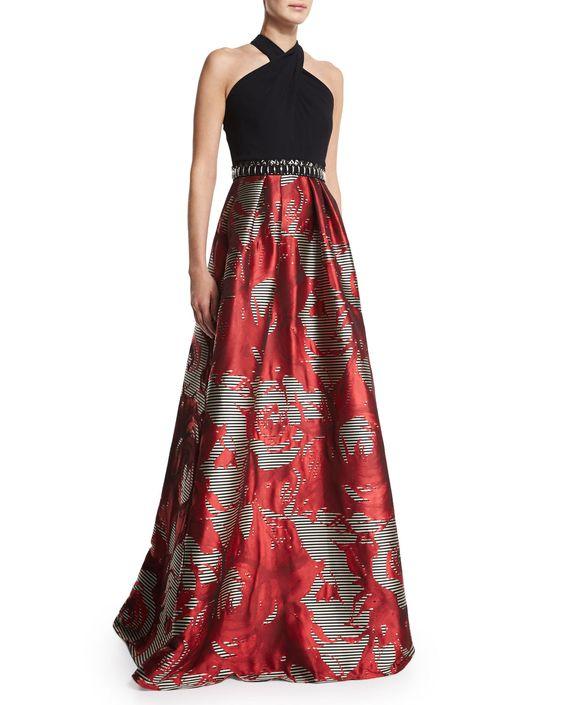 Sleeveless Halter Combo Full-Skirt Gown, Size: 12, Burnt Orange - Carmen Marc Valvo