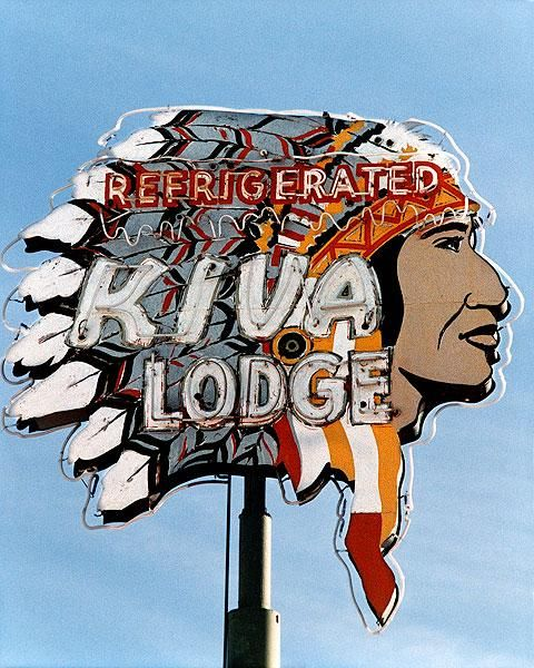"""""""The Kiva Lodge"""" sign which is located in Mesa, Arizona and is one of the greatest old neon signs from the 1950s."""