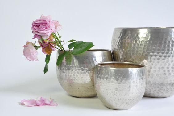 pots silver and flower pots on pinterest. Black Bedroom Furniture Sets. Home Design Ideas