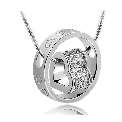 Swarovski Elements Crystal Heart  & 18K White Gold Plated Ring Pendant - but maybe try something similar with sterling silver