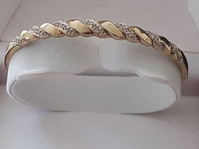 Beautiful 9ct gold #diamond #hinged #bangle,  View more on the LINK: http://www.zeppy.io/product/gb/2/322391270791/