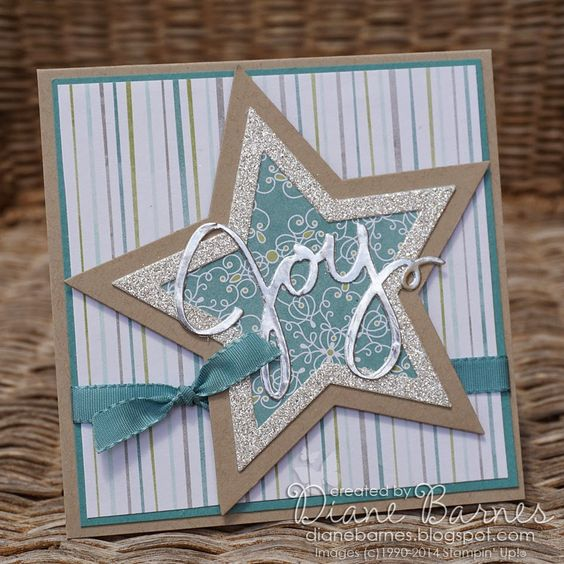 Stampin Up Bright & Beautiful Christmas star card with Wondrous Wreath framelits. By Di Barnes - colourmehappy