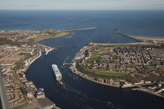 The mouth of the Tyne River, showing aerial shots of South Shields and North Shields, South Tyneside.