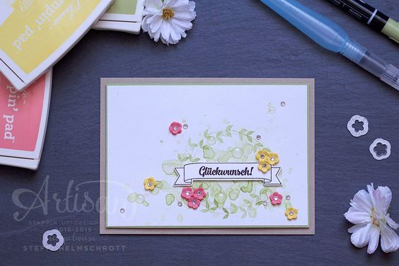 Glückwunschkarte mit Banner #gdp49 • Stempelwiese | Birthday Banners, Foxy Friends and Shaker Shapes framelits