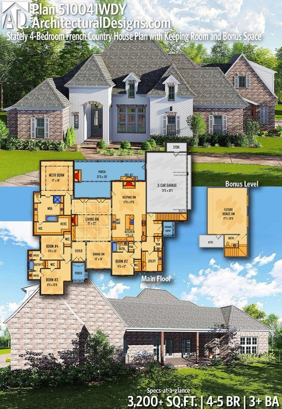 Plan 510041wdy Stately 4 Bedroom French Country House Plan With Keeping Room And Bonus Space French Country House Plans Country House Plan House Plans