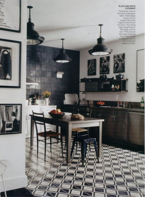 in a classic black and white kitchen an antique french cementtile floor antique classic black