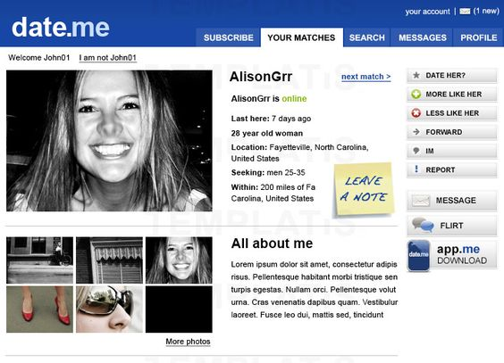 Dating website template, Item 00051, Dating, Community ...