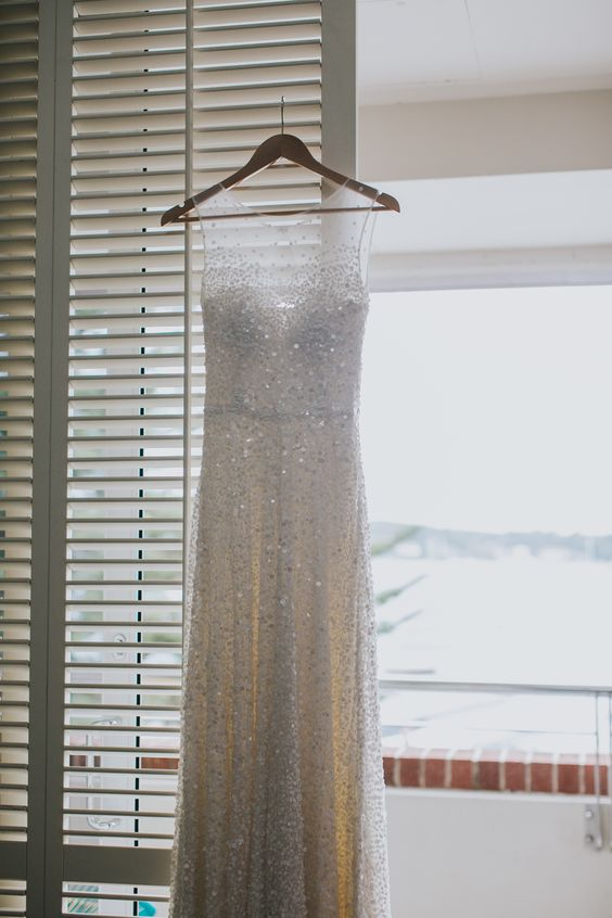 Sequin wedding dress by Karen Willis Holmes  (PHOTOGRAPHER: Samantha Heather)  Follow us: @KWHBridal