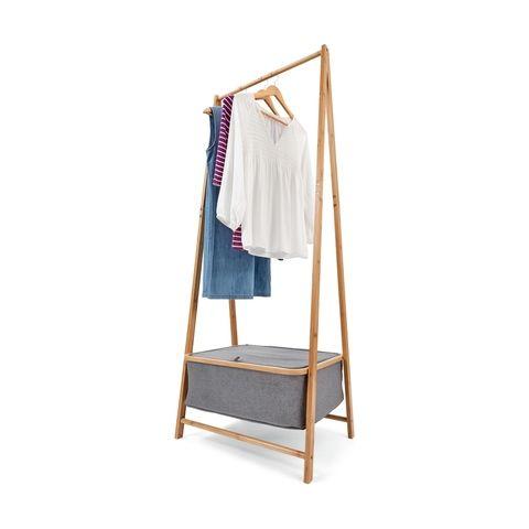 Bamboo Frame Garment Rack With Storage Basket Living Room Storage Garment Racks Bamboo Frame