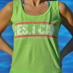 """Yes I Can"" tank in Key Lime with pink accents. Pair it with a neon pink hair tie and pink Ecosox! At www.BarefootAC.com."