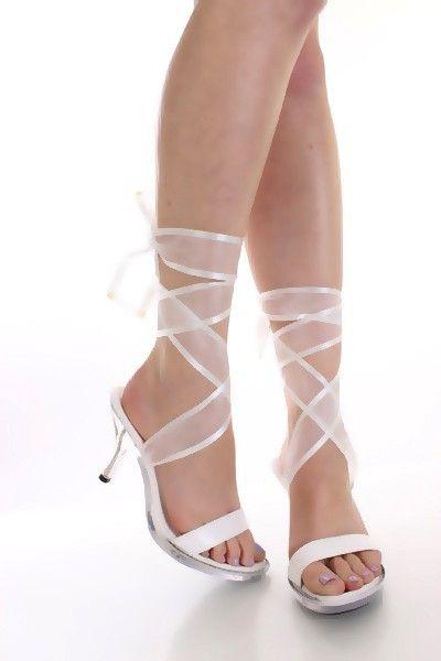 silver high heels with ribbon wrap straps  White Wrap Around
