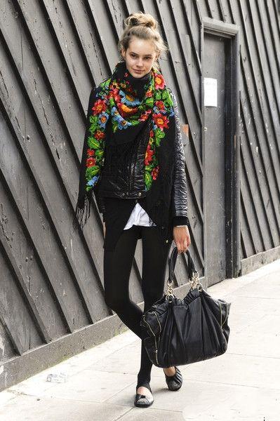 estilo invierno winter style floral scarf bufanda flores