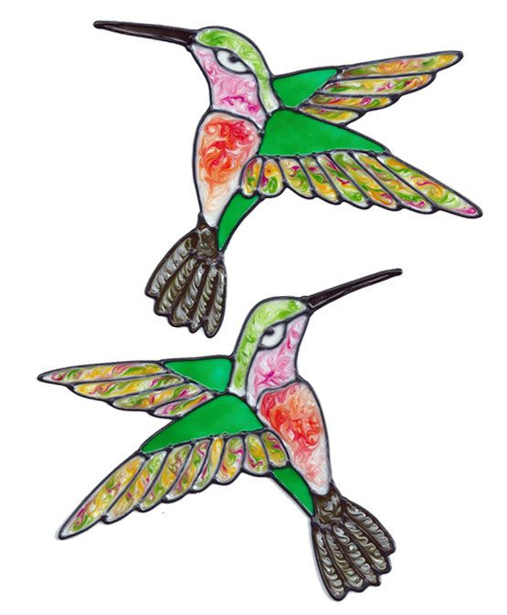 Colorful Hummingbird Window Clings by Colorfulimpressions on Etsy, $12.99