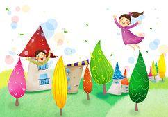 Bebê, menina, fantasia, prazer, voar, árvores, casas, folhagem