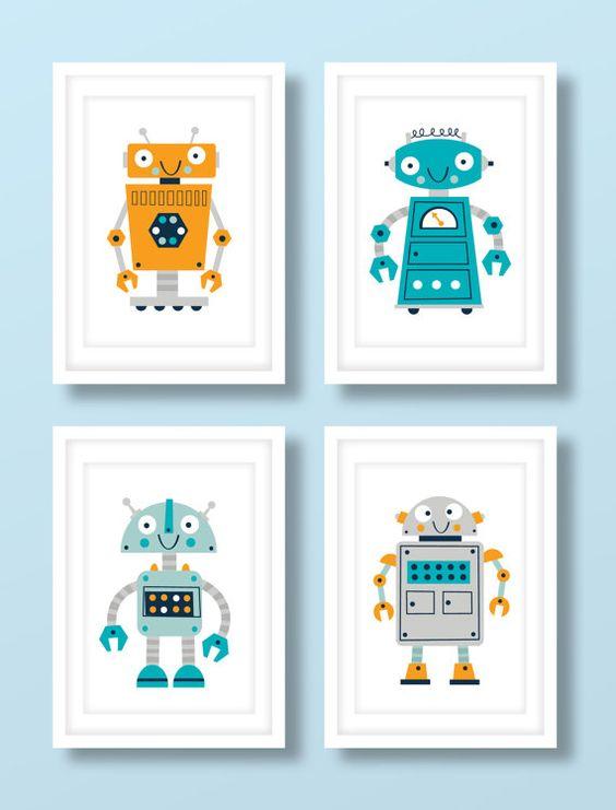 Childrens robot print set boys robot print set robot for Robot room decor