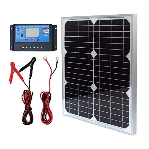 Tp Solar Solar Panel Kit 20w 12v Monocrystalline With 10a Solar Charge Controller Extension Cable With Battery Solar Panel Kits Off Grid System Solar Panels