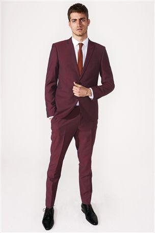 Burgundy Skinny Fit Suit | Men's Fashion | Pinterest | Shops