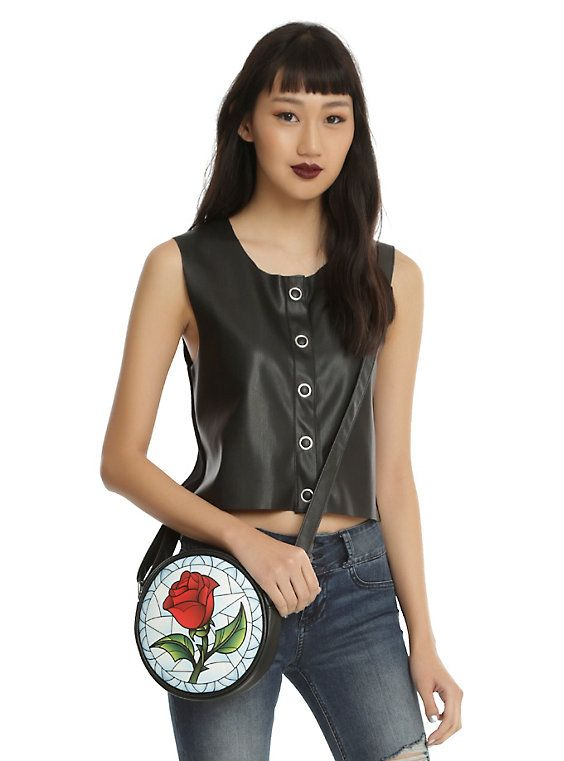 Disney Beauty And The Beast Stained Glass Enchanted Rose Crossbody Bag,: