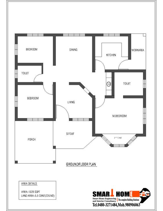 1320 sqft kerala style 3 bedroom house plan from smart Ground floor 3 bedroom plans
