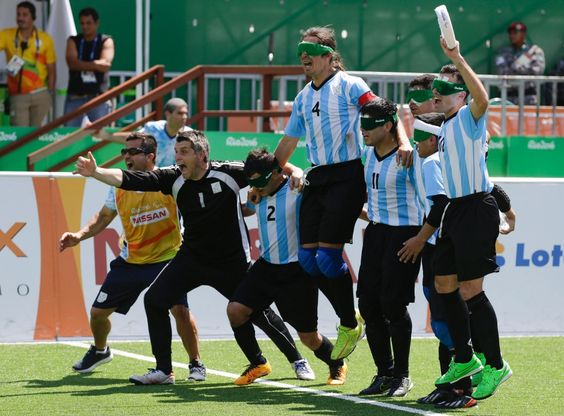 Sept.13 2016 - Rio Paralympics Soccer Gallery Tues - Argentina's 5-a-side soccer team erupts after a dramatic penalty shoot-out win over China