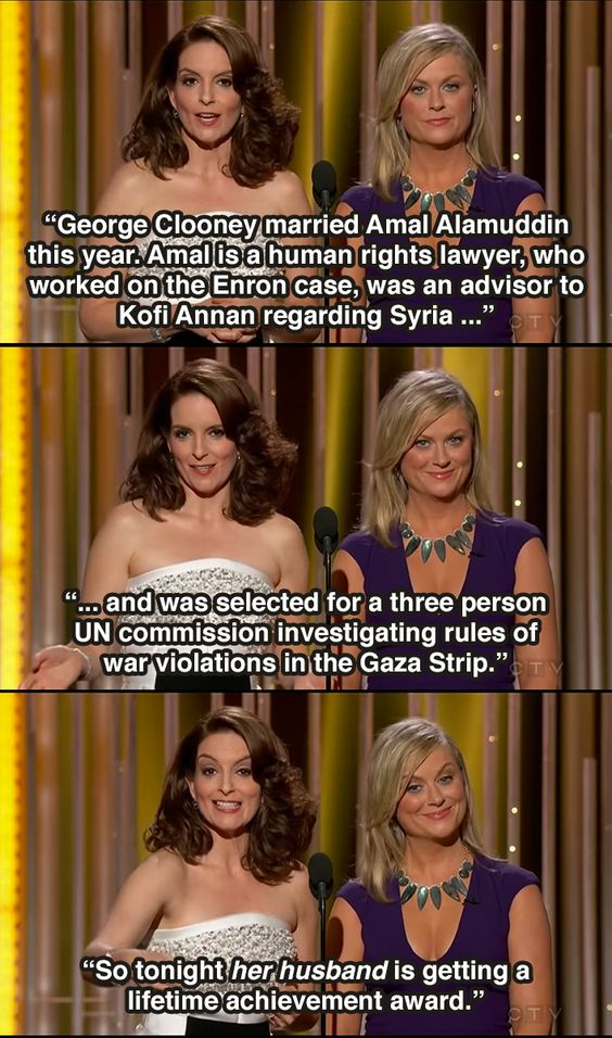 From Tina Fey and Amy Poehler's 2015 Golden Globe Awards Opening Monologue. Love them.