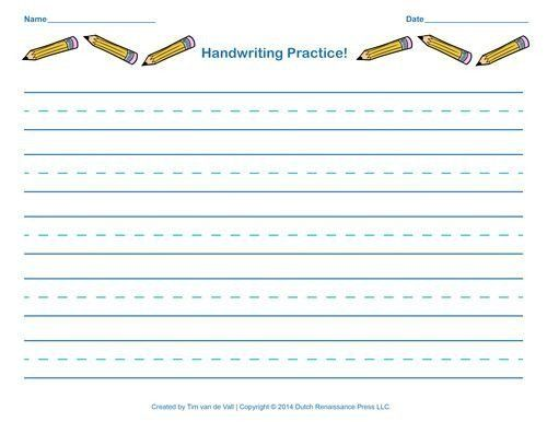 Blank Handwriting Worksheets For Kindergarten Free Handwriting Practice  Pape… Handwriting Practice Sheets, Writing Practice Worksheets,  Handwriting Paper Template