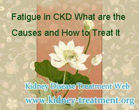 Fatigue in chronic kidney disease what are the causes and how to treat it ? Fatigue is one common symptoms of chronic kidney disease, but it really affect people's life greatly. So how to solve this problem has become one of the hot topic among kidney disease patient, the following i will share you some information about the causes of it and the ways to treat it, hoping it can help you in some degree.