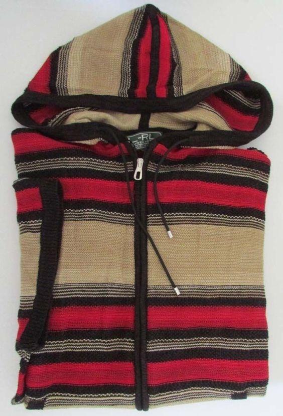 NWT Lauren Ralph Lauren Sweater Short-Sleeve Striped Linen Hooded Poncho S M #RalphLauren #Poncho