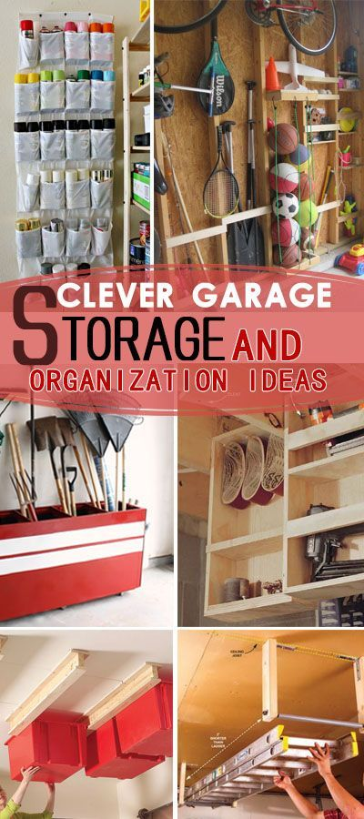 Clever Garage Storage and Organization Ideas. Lots of creative ideas and projects to make the most of your garage's storage space!