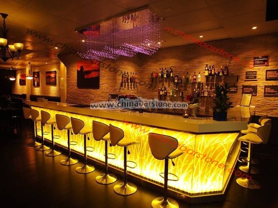 Modern style flower pattern commercial nightclub LED bar counter for sale