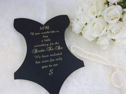 Lingerie Party,Foil Black Corset sizing card, Bachelorette Size Insert corset card