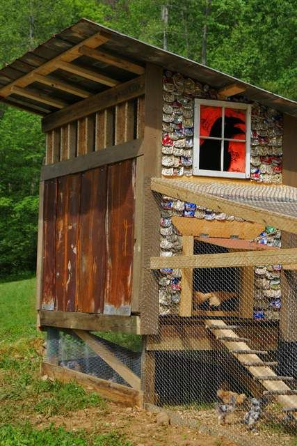 Homemade Chicken Coop With Beer Can Shingles Was Built In