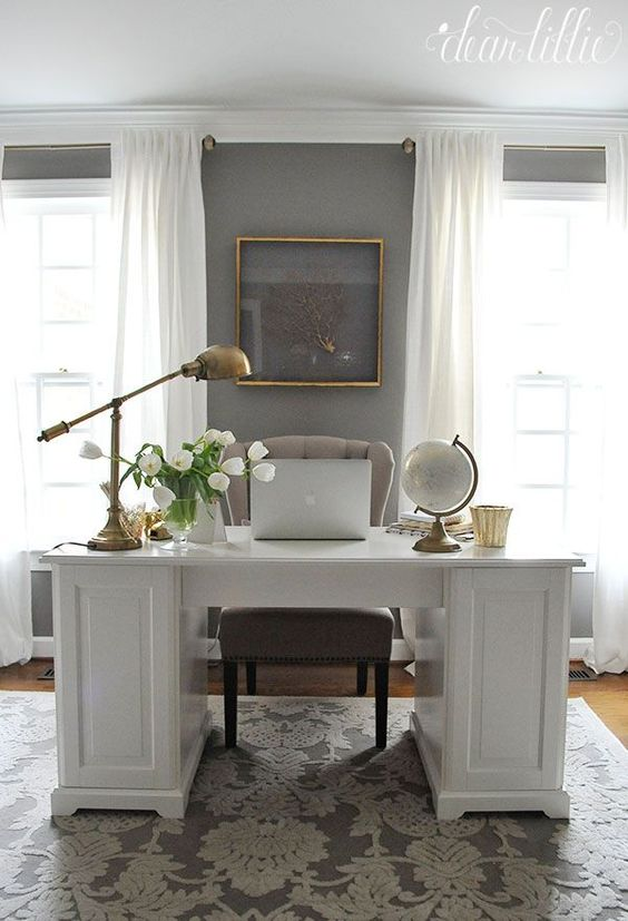 Pretty white office - like the curtains and lamp Jenni's Home - Home Office - Dear Lillie Studio