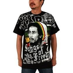This black Bob Marley Men's Tee features an iconic image of Bob with a white and rasta striped tam. Bob Marley is written in large white lettering with the Lion of Judah on the left shoulder. Below the image are some of Bob's famous lyrics. Songs of Freedom and 1979 appear prominently.