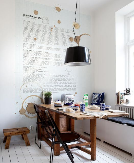 coffee stain rings with recipe on the wall, pretty fun.
