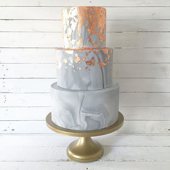 Copper leaf and marble effect wedding cake designed for the A Most Curious Wedding Fair 2017 publicity campaign by Blossom & Crumb.