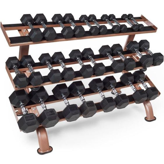 Tunturi Platinum Dumbbell Set With Rack – 230kg ~~~ # Durable rubber coating # Hexagonal construction creates an anti-roll design # Knurling design on the handles enhances grip # Includes 3-Tier dumbbell storage rack Dumbbells Sizes Included (In Pairs): 1kg, 2kg, 3kg, 4kg, 5kg, 6kg, 7kg, 8kg, 9kg, 10kg, 12kg, 14kg, 16kg, 18kg #Dumbbells #Tunturi #HomeGym #Weights