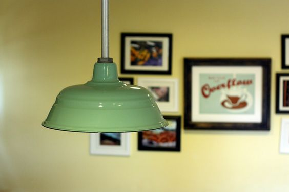 Love this dining lamp.... but remember to make one from antique plate cover (cream colored with red & green tulips, I think)