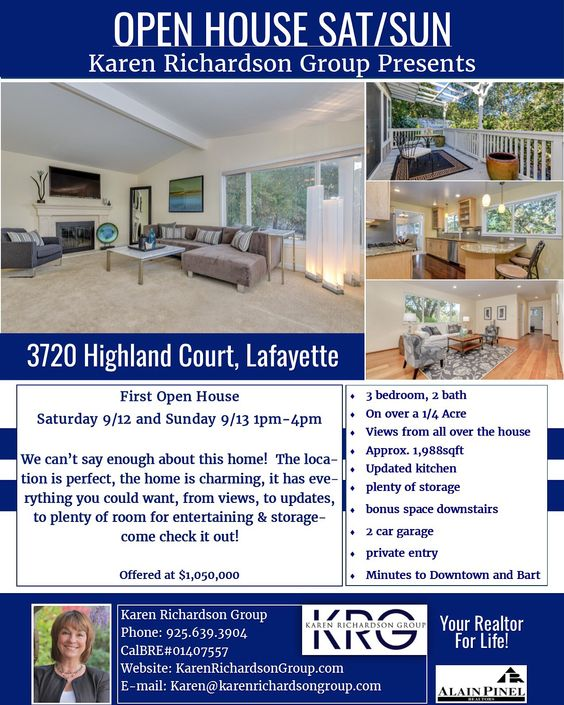 """Come see us at the open house this weekend SAT 9/12-SUN 9/13 1-4pm.   """"Location, location, location! Nestled into a 1/4 acre of nature, this 3 bedroom, 2 bath home is a peaceful retreat in the heart of all the action in Lafayette-only minutes to Downtown and Bart. It boasts approx. 1,988sqft and is light, bright, and airy, featuring an updated kitchen, views from the living room, deck, bedroom-almost everywhere you look!  There are plenty of closets for storage, a bonus space downstairs…"""