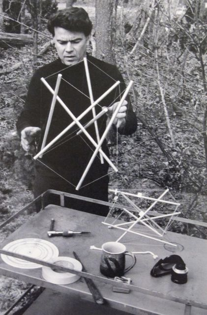 "Kenneth Snelson with ""Newport"" model. The Springs, Long Island 1967"