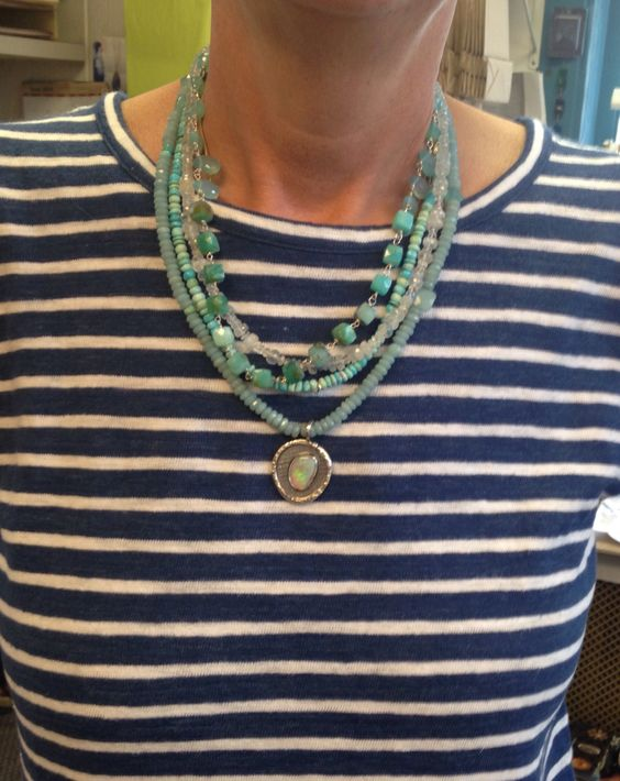 Mix turquoise and blue tones mix multi strand necklace with Opal pendant
