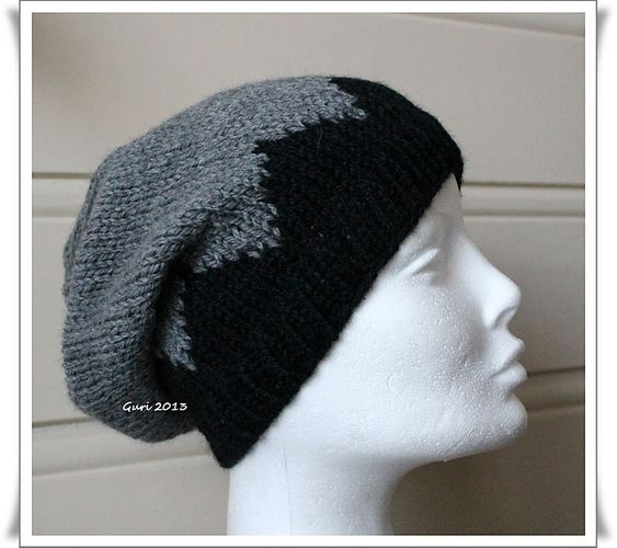 Free Knitting Pattern from Ravelry: Sik-sak-baggy-hat pattern by Guri ?steren...