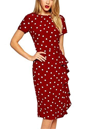Lymanchi Womens Retro Classic Polka Dot Wear to Work Business Party Dress Red S *** Visit the image link more details.